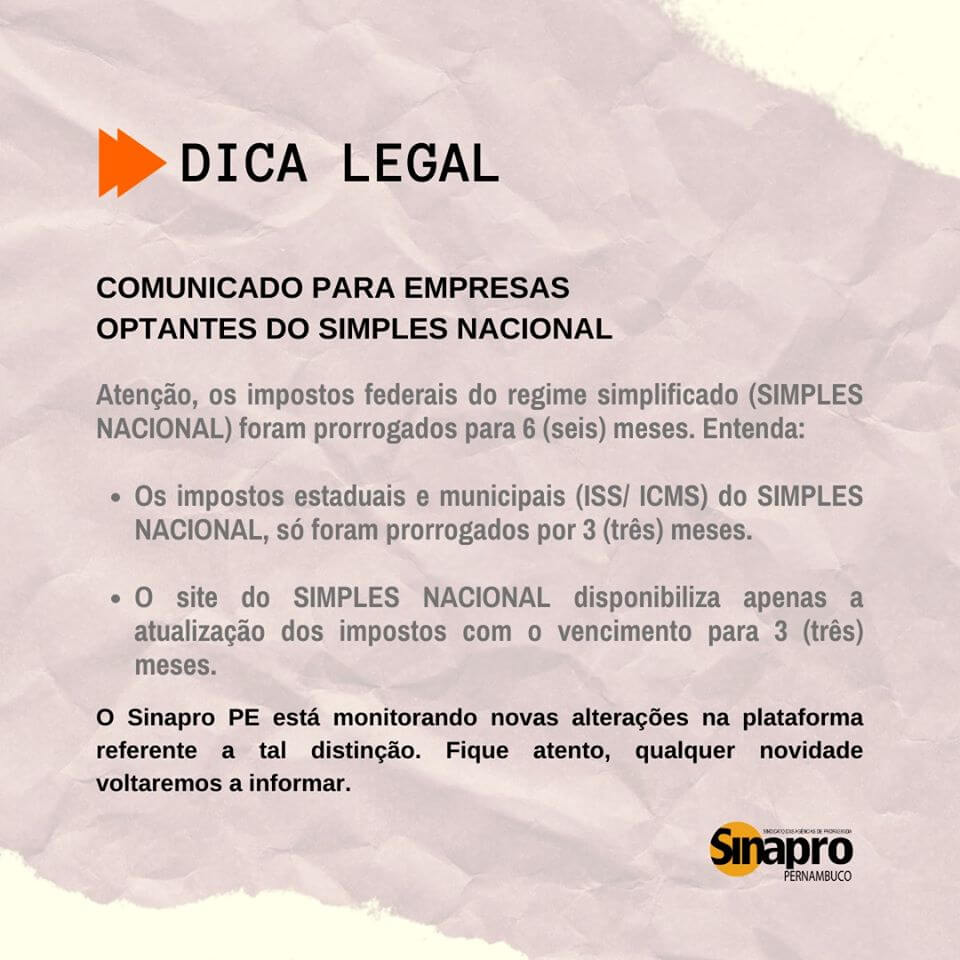 DICA LEGAL: Comunicado para empresas optantes do Simples Nacional